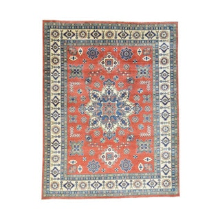 """Wool Hand-Knotted Red Tribal Design Kazak Rug (9'4""""x12')"""