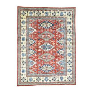 Hand-Knotted Geometric Design Kazak Wool Oriental Rug (9'4x12'4)