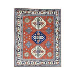 Hand-Knotted Kazak Tribal Design Wool Oriental Rug (6'9x8'4)