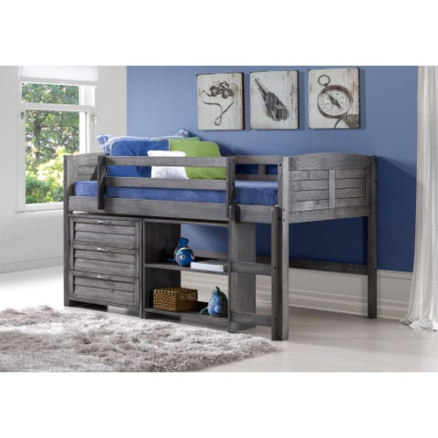 Donco Kids Louver Low Loft Antique Grey 3-in-1 Twin Bed, Chest, and Book Shelves