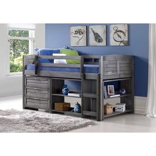 Donco Kids Twin Louver Low Loft w/ 3-Drawer Chest, Shelves, and Small Bookcase in Antique Grey