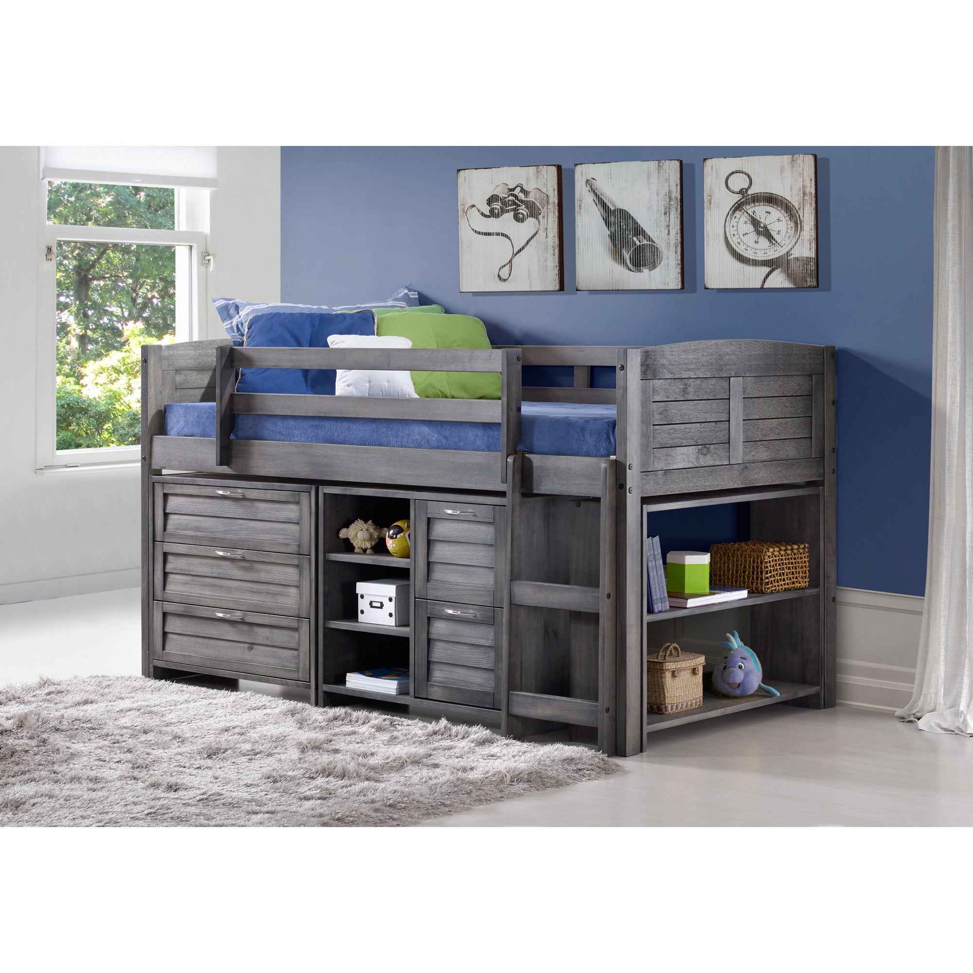 Donco Kids Grey Louver Low Loft Bed with Chests, Shelves,...