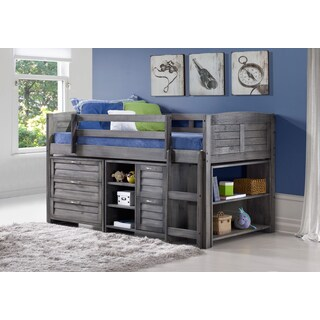 Donco Kids Grey Louver Low Loft Bed with Chests, Shelves, and Bookcase (Twin)