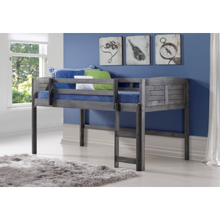 Louver Low Loft Bed in Antique Grey (Twin)