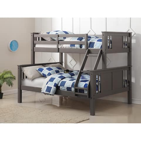 Donco Kids Princeton Slate Grey Twin-over-Full Bunk Bed