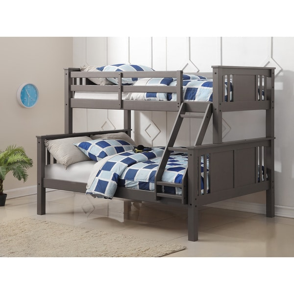Shop Donco Kids Princeton Slate Grey Twin Over Full Bunk Bed On