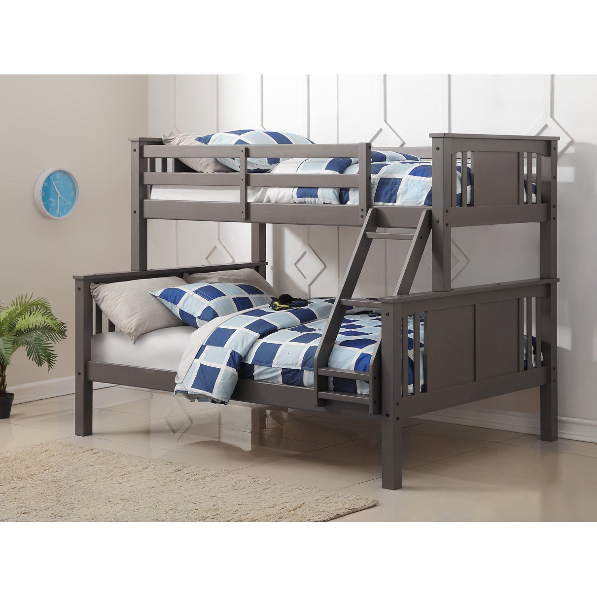 Donco Kids Princeton Slate Grey Twin-over-Full Bunk Bed (...