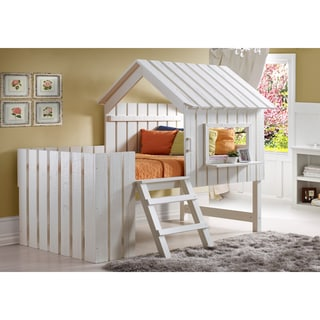 Donco Kids 2-in-1 Cabana Loft Bed and Play House in Rustic Pearl (Twin)