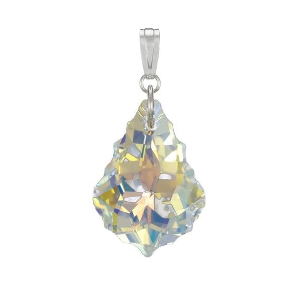 ea07ecc06fc5 Handmade Jewelry by Dawn Aurora Borealis Swarovski Crystal Baroque Sterling  Silver Pendant (USA)