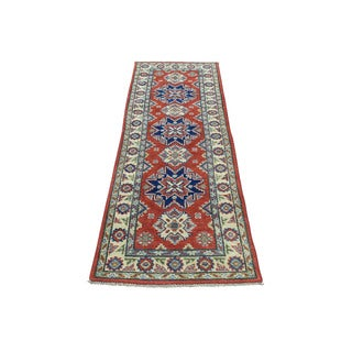 "Hand-Knotted Kazak Wool Runner Geometric Design Rug (2'x6'4"")"
