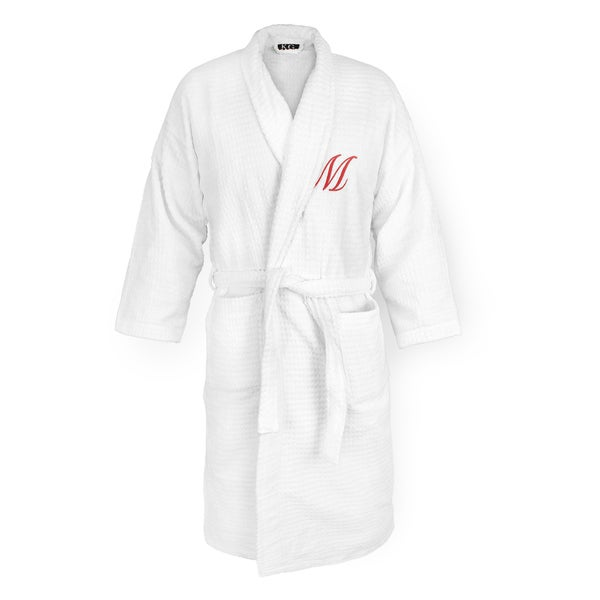 White Sugarcube Robe with Red Monogram