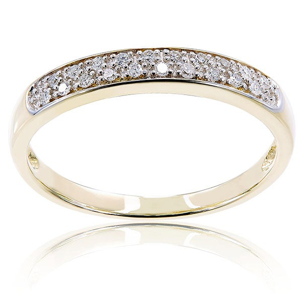 10k Yellow Gold 1/10ct TDW Diamond Vintage Cluster Anniversary Band by Miadora