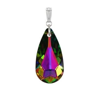 Jewelry by Dawn Medium Vitrail Swarovski Crystal Teardrop Sterling Silver Pendant