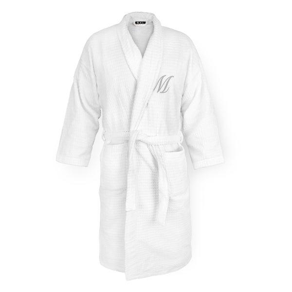Kaufman White Cotton Silver Monogram Sugarcube Robe