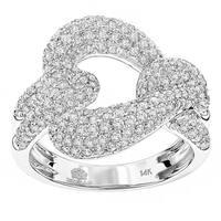 Luxurman 14k Gold 1 1/2ct TDW Diamond Cuban Link Cocktail Ring