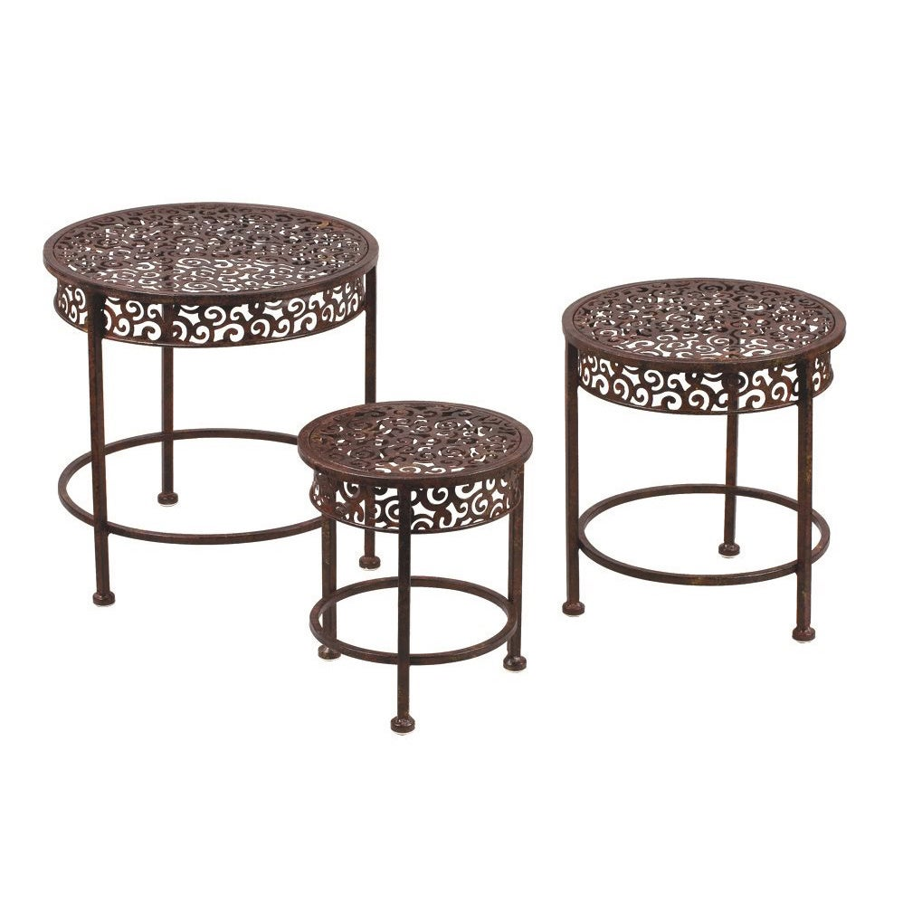 International Brown Metal Waterfall Plant Stand (Set of 3...
