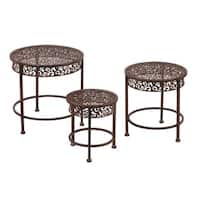 Brown Metal Waterfall Plant Stand (Set of 3)