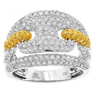 Luxurman 14k Gold 2ct TDW Diamond Link Cocktail Ring