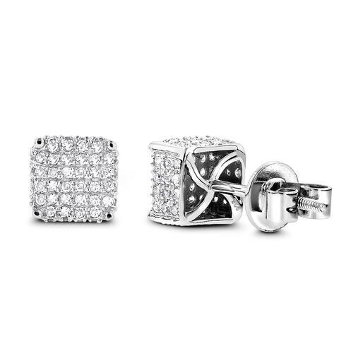 Luxurman Sterling Silver 3/4ct TDW Diamond Earrings - N/A