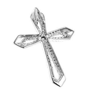Luxurman 10k White, Yellow or Rose Gold 1/4ct TDW Designer Diamond Cross Pendant