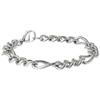 Stainless Steel Men's Figaro Bracelet, 9""