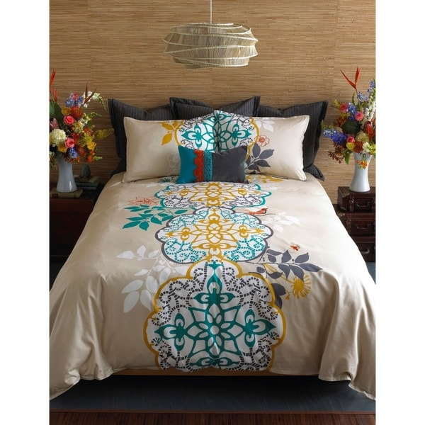 Bon Blissliving Home Shangri La 3 Piece Cotton Duvet Cover Set