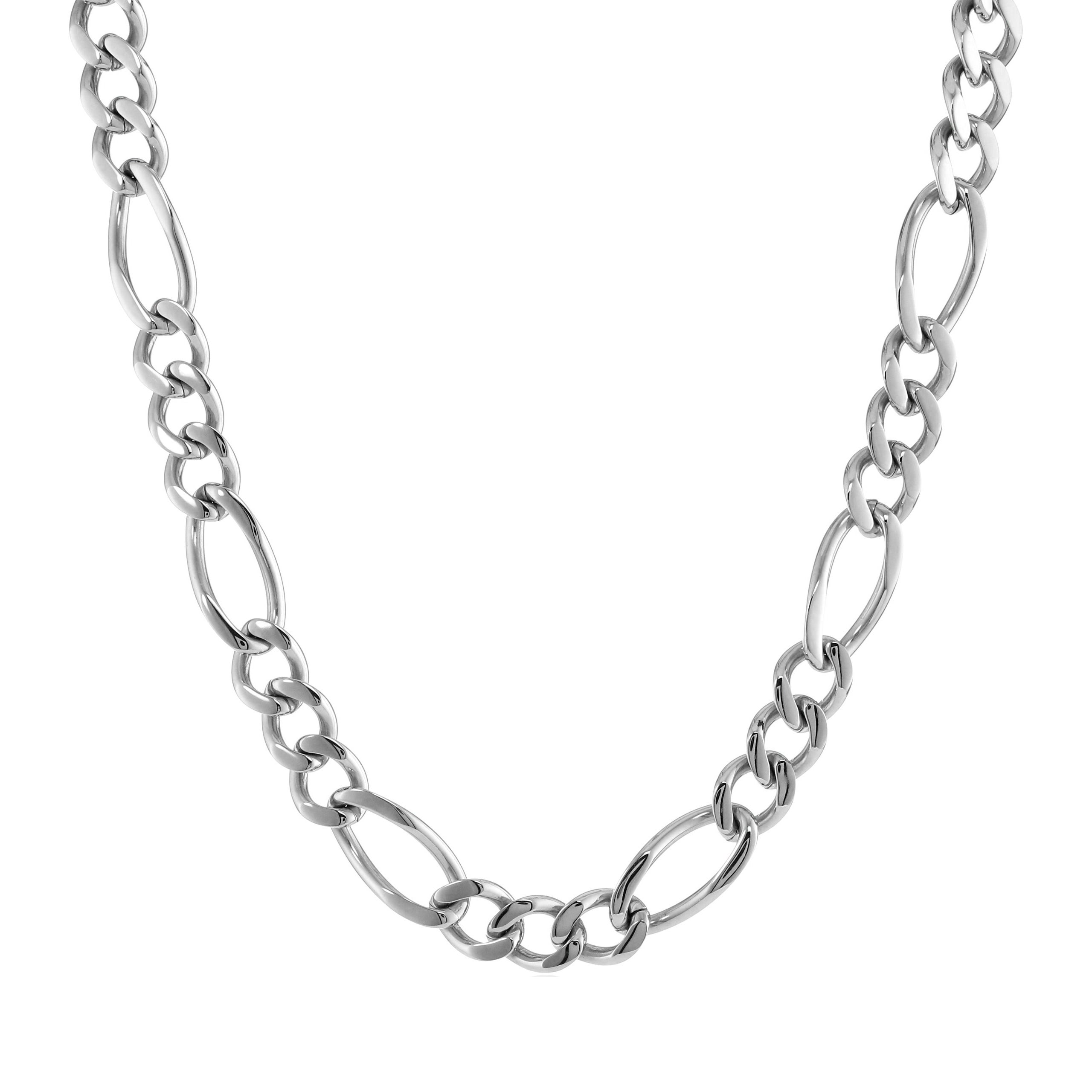 """Stainless Steel Men's Figaro Chain Necklace, 22"""" (Stainle..."""