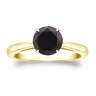 Auriya 14k Gold 1 1/4ct 4-Prong Round Cut Black Diamond Solitaire Engagement Ring