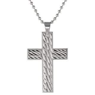 Stainless Steel Textured Cross Pendant Necklace