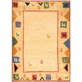 ecarpetgallery Lotus Mod Brown, Yellow Polypropylene Rug (7'10 x 11'0)