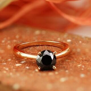 Auriya 14k Gold 1 1/2ct Round Black Diamond Solitaire Engagement Ring