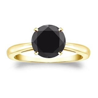 Auriya 14k Gold 2ct 4-Prong Round Cut Black Diamond Solitaire Engagement Ring