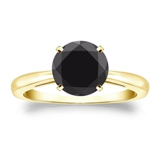 Auriya 14k Gold 2 carat Solitaire Round Black Diamond Engagement Ring
