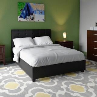 Porch & Den Wicker Park Schiller Black Faux Leather Upholstered Bed