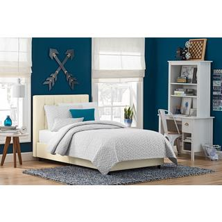 DHP Emily Vanilla Faux Leather Upholstered Bed
