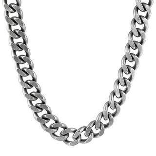 """Men's Stainless Steel Antiqued Finish Curb Chain Necklace, 22"""""""