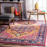 nuLOOM Persian Blue/Orange Medallion Rug (8' x 10')