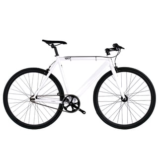 6KU White and Black Aluminum Single-speed Fixie Urban Track Bike