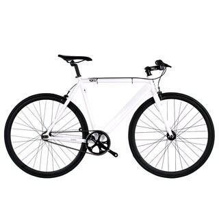 6KU White and Black Aluminum Single-speed Fixie Urban Track Bike