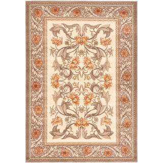 Ecarpetgallery Royale Brown, Ivory Wool Rug (5'3 x 7'8)