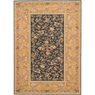 Ecarpetgallery Royale Blue, Brown Wool Rug (5'7 x 7'9)