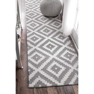 nuLOOM Handmade Abstract Wool Fancy Pixel Trellis Runner Rug (2'6 x 12')