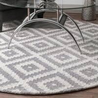 nuLOOM Handmade Abstract Wool Fancy Pixel Trellis Round Rug