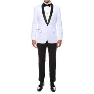 Zonettie by Ferrecci Men's Premium Slim Fit Shawl Collar 2-piece Tuxedo 46L/40W in Black(As Is Item)