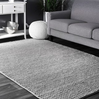 nuLOOM Handmade Braided Cable Grey New Zealand Wool Square Rug (6' Square)