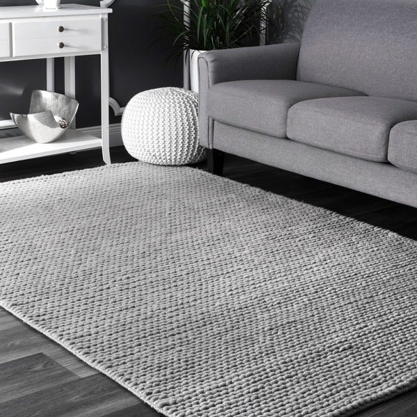 NuLOOM Handmade Braided Cable Grey New Zealand Wool Square Rug (6u0026#x27; ...