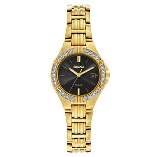 Seiko Women's Goldtone Stainless Steel Hardlex Crystal Window Solar-powered Watch