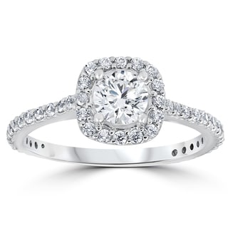 14k White Gold 1 1/5 ct TDW Round Diamond Cushion Halo Engagement Ring 14k White Gold (I-J, I2-I3)