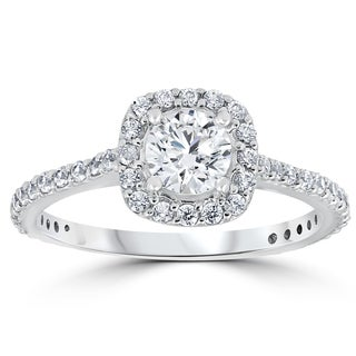 14k White Gold 1 1/5 ct TDW Round Diamond Cushion Halo Engagement Ring