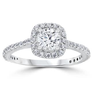 14k White Gold 1 1/5 ct TDW Round Diamond Cushion Halo Engagement Ring|https://ak1.ostkcdn.com/images/products/13391495/P20088742.jpg?impolicy=medium